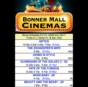 In theaters now… Bonner Mall Cinemas is showing Guardians of the Galaxy 2 in 3-D