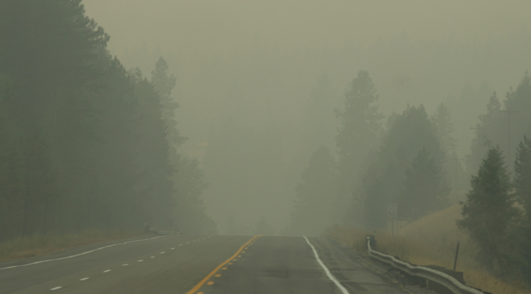 Smoke by Sandpoint... Visibility was low among Sandpoint's roads because of the smoke, and air quality was horrendous. Photo by Kai Eagley
