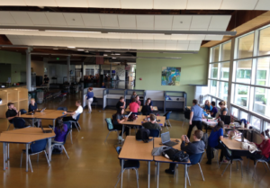 Socializing in the Commons… An aerial perspective of the study lab.