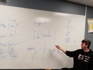 Student Ethan VanGundy explaining to the FBCS Journalism class how Crypto-Currency works. Photo by: Skyler Kent